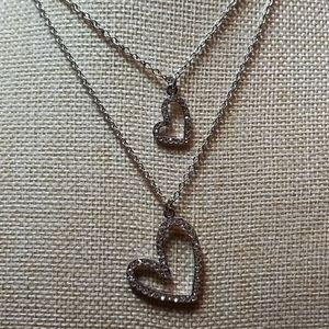 Cookie Lee Double Heart Rhinestone Necklace